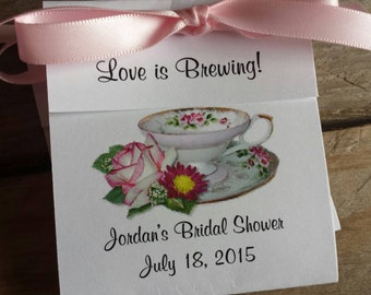 Pretty Pink Roses Teacup Tea Bag Bridal Shower Wedding Party Favors CIJ