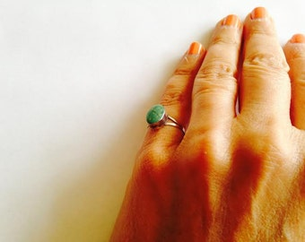 Vintage Turquoise Silver Oval Ring