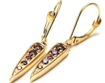 Lavender Diamond Spike Earrings - 14k Yellow Gold Modern Minimalist Earrings