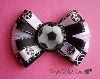 "Soccer loopy bow - 3"""