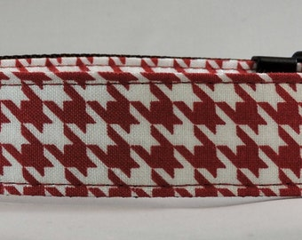 Dog Collar, Martingale Collar, Cat Collar - All Sizes - Red and White Houndstooth
