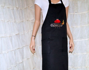 Licence to Grill Embroidered Logo Pocket Chef Apron MTCoffinz - Ready to Ship