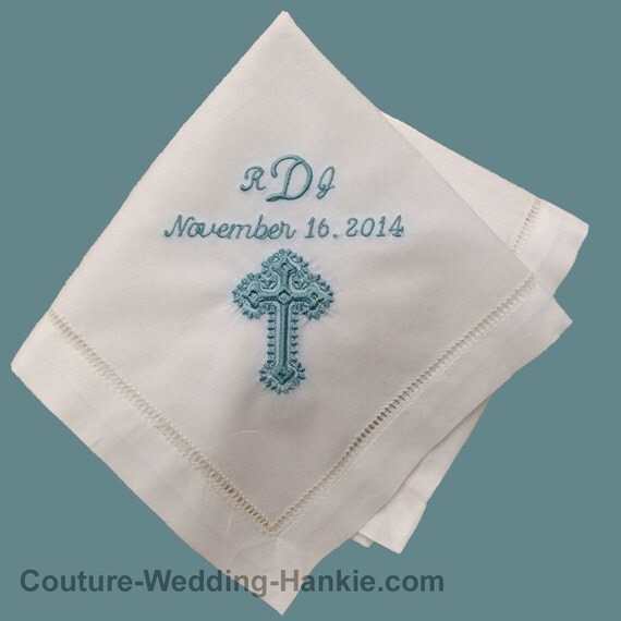Personalized Baptism Gift | Custom Embroidered Baptism Handkerchief Hankie | Gift from Godparents No. H403
