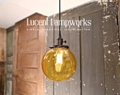 Pendant Light With Amber Orange Glass Globe - 8 Inch