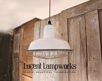 Industrial Enamel Lighting with White Vintage Enamel Shade & Cage