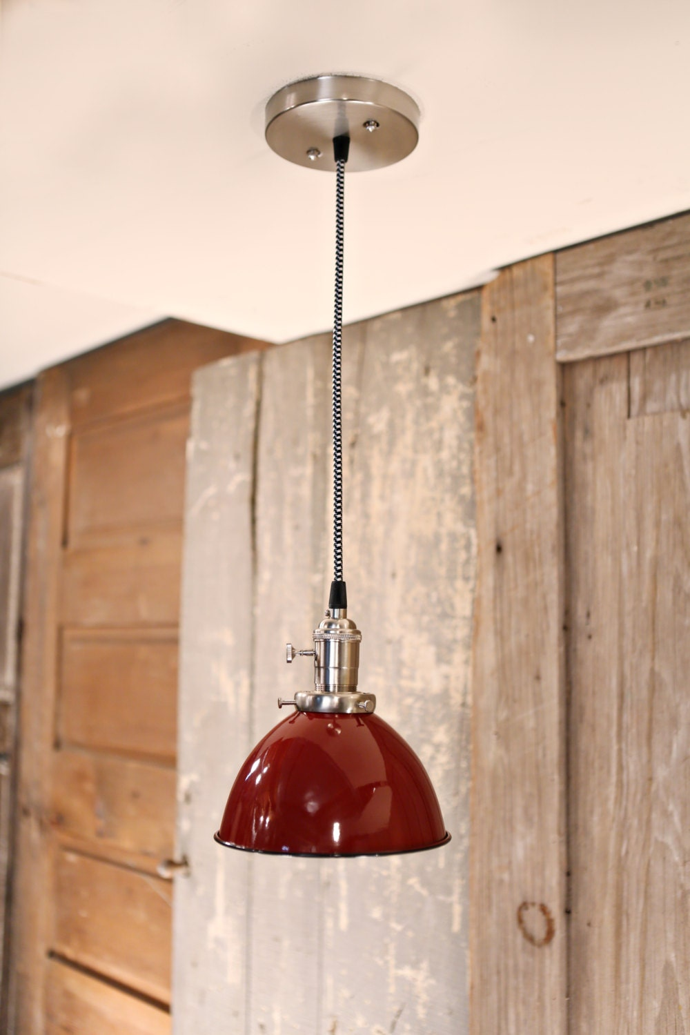 Pendant Light Red Metal Dome Shade 7 By Lucentlampworks On