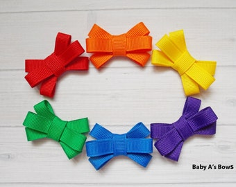 Rainbow Baby Bow Set - Bitty Bow, Bow Set, Rainbow, Itty Bitty Bow, Set of Bows, Baby Girl, Pigtail Bow, Newborn Girl, Little Girl Bow