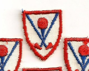 Crossed Clubs: Small Golf Club and Ball on Tee Appliques - Set of 4 Matching Vintage New Old Stock Patches