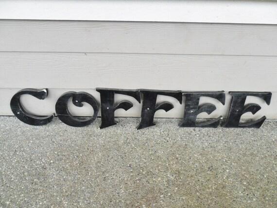 Vintage black wood coffee letters large advertising by for Large black wooden letters
