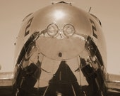 Reflect, Beech C-45 Historical Aircraft Photo, Aluminum Reflection in Sepia, 5x7 or 8x10