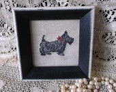 Shabby Vintage needle point,  Scottie dog, time worn box, Scottish terrier, black and off white