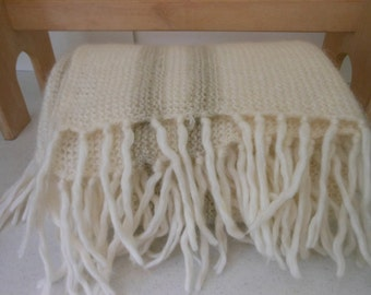 BELLA Throw Blanket Fringed Ivory Taupe