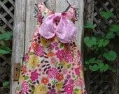 Girls Pinafore Reversible Dress,Cotton Dress,School Dress,All Season Dress,Girls Size 7-8,by Nine Muses Of Crete