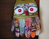 Thai Unique Hip Bag Owl Patchwork Crossbody Messenger Bag Handmade Cotton Green Mosaicc Large OOAK OL50