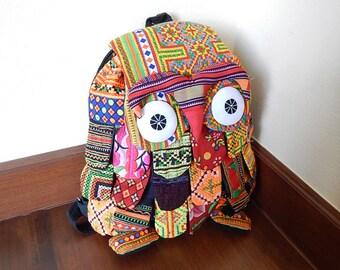 Hmong Owl Backpack Bag Patchwork Rucksack Thai Cotton Hippie Hobo Ethnic Animal Purse Large HMBP1