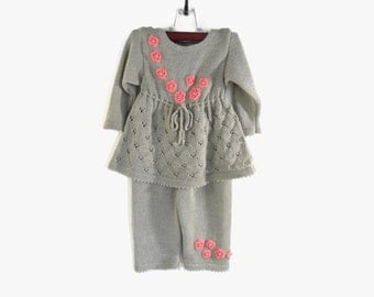 Knitted Girl Dress and Pants - Olive Gray, 2 - 3 years