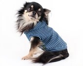 Dog clothes Navy Stripe Nautical inspired hoodie lightweight Sleeveless dog Hoodie