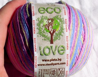 Regenerated cotton Yarn eco love Multicolour (176) Eco friendly Cotton Yarn Hypoallergenic baby friendly soft yarn Recycled cotton DSH