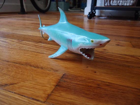 Goblin Shark Toys : Vintage blue rubber shark