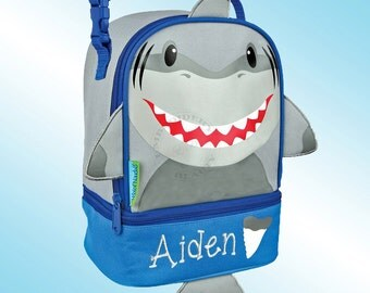 Lunchbox - Personalized and Embroidered - 2 Insulated Compartments - Lunch Pal - SHARK