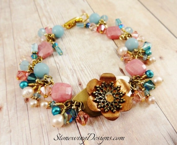 Mixed Metal Riveted Flower, Rhodonite, Amazonite, Apatite, Pearl and Crystal Bracelet