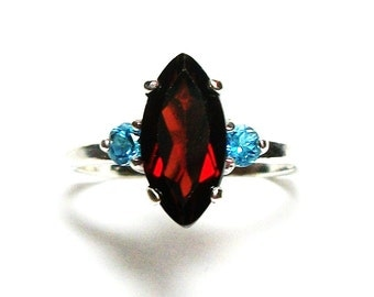 "Garnet, garnet ring, garnet accent ring, red and blue, 3 stone ring, anniversary ring, s 6 1/2 ""Big Sister"""