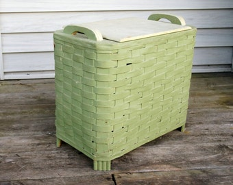 Vintage Laundry Hamper, Wicker Basket, Mint Green Chippy Paint, Shabby Cottage Decor, Rustic Storage