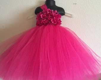 Beautiful Fuschia Hot Pink Hydrangea tutu dress - flower girl dress - birthday dress - choose your dress color - size 6-12