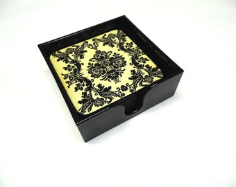 Black Ivory Coasters and Caddy Set of 6 Damask Floral