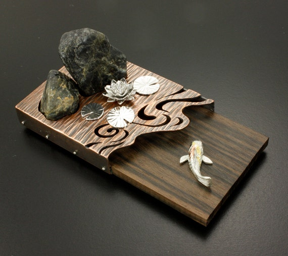 Reserved Zen Garden Desk Ornament With Rocks Water Lily And