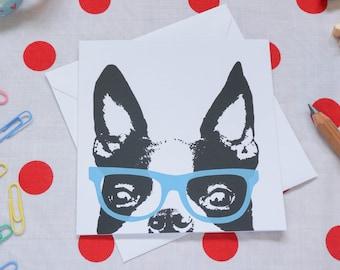 Boston Terrier / French Bulldog in glasses card