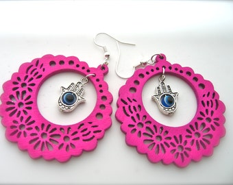 Wooden Earrings , pink Earrings. Hoop Earrings. Bright Earrings. Flower Floral,Fatima hand charm, Hamsa charm