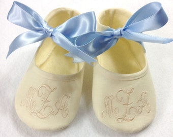 Baby Boy Baptism Shoes- Monogrammed Ivory Booties- Baby Boy Shoe Christening- Baby Boy Baptism- Baby Boy Christening Keepsake- Baby Boy Shoe