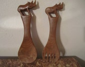 Hand Carved Wood Animal Salad Server Pair Rhinoceros Figure
