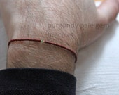 burgundy pale gem bracelet for men - a very small bead bracelet, made to measure by Maria-Helena Design