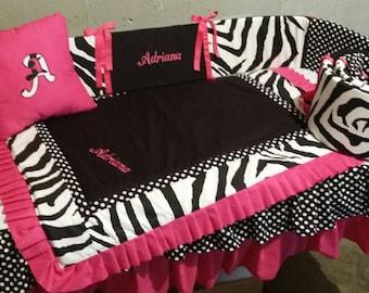 Zebra and pink crib SET - BABY BEDDING  4 piece set- custom made