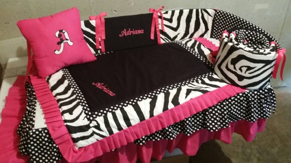 Zebra And Pink Crib SET BABY BEDDING 4 Piece Set Custom