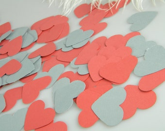 150 Coral and Gray Heart Confetti / Wedding Table Scatter / Tiny Gift Tags 1.5 Inch / Carstock / Invitation Stuffer / Party Decorations
