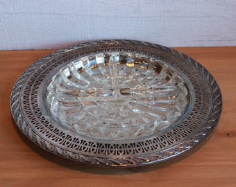 Silver Platter with glass divided insert dish
