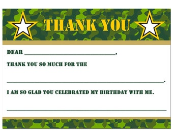 50% OFF SALE - Camouflage Thank You Notes Printable - Instant Download