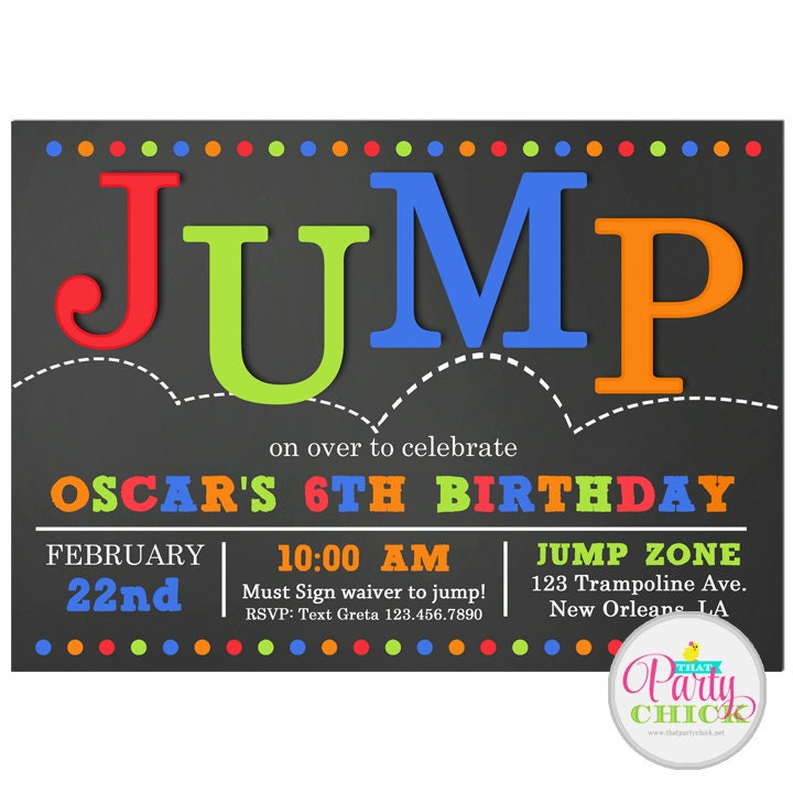 jump invitation printable or printed with free shipping. Black Bedroom Furniture Sets. Home Design Ideas