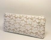Bride Clutch White Lace, Bride Accessory Purse Nude, Floral Lace Handbag Bridal Shower Clutch, Gift for Bride