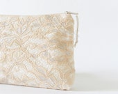 Peach Wedding Clutch, Peach and Silver Lace Clutch, Peach Bridal Purse, Evening Lace Handbag