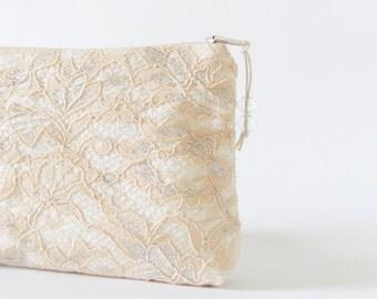 Peach Wedding Clutch, Peach and Silver Lace Clutch, Peach Bridal Purse, Evening Lace Handbag