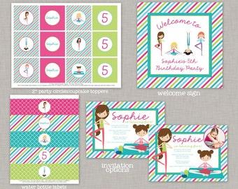 Yoga Birthday, Yoga Birthday Decorations, Yoga Party, Yoga Birthday Party, Printable