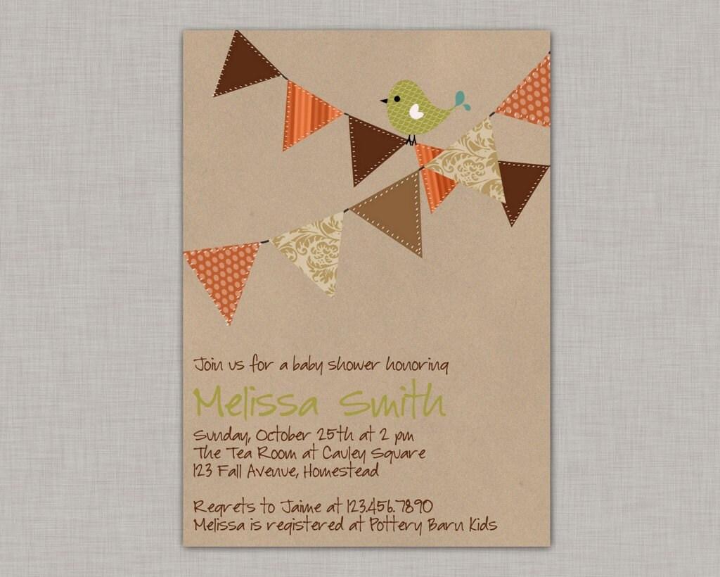 fall baby shower invitation bird baby shower invitation