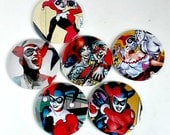 Comic Pocket Mirror Featuring Harley Quinn and Joker