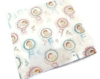 Vintage Wrapping Paper - New Babies Baby Blue Pink Prize Award Gift Wrap - Dennison Gift Wrap