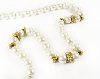Vintage Faux Pearl Choker Necklace, Wedding / Vintage Bridal Necklace - Collier.