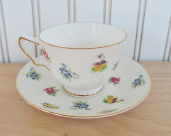 Crown Staffordshire Floral Bouquet Teacup and Saucer Set